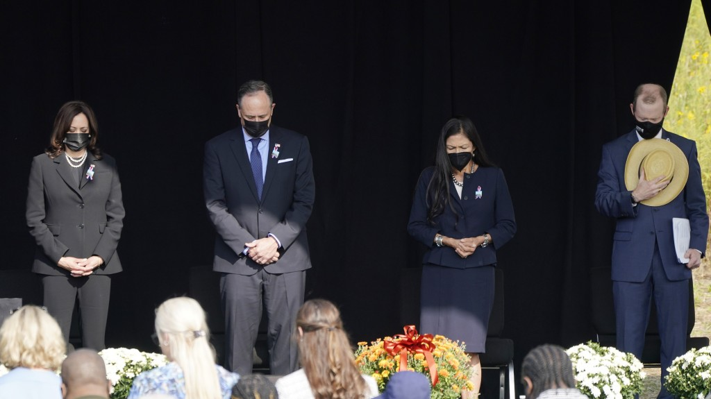 Vice President Kamala Harris and her husband Douglas Emhoff attend a memorial for the passengers and crew of United Flight 93, Saturday Sept. 11, 2021...