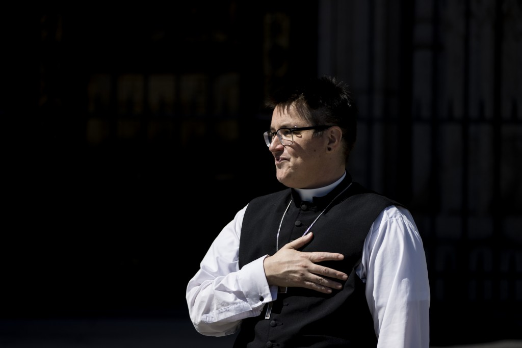 Bishop Megan Rohrer speaks to the press before the installation ceremony at Grace Cathedral in San Francisco, Saturday, Sept. 11, 2021. Rohrer is the ...
