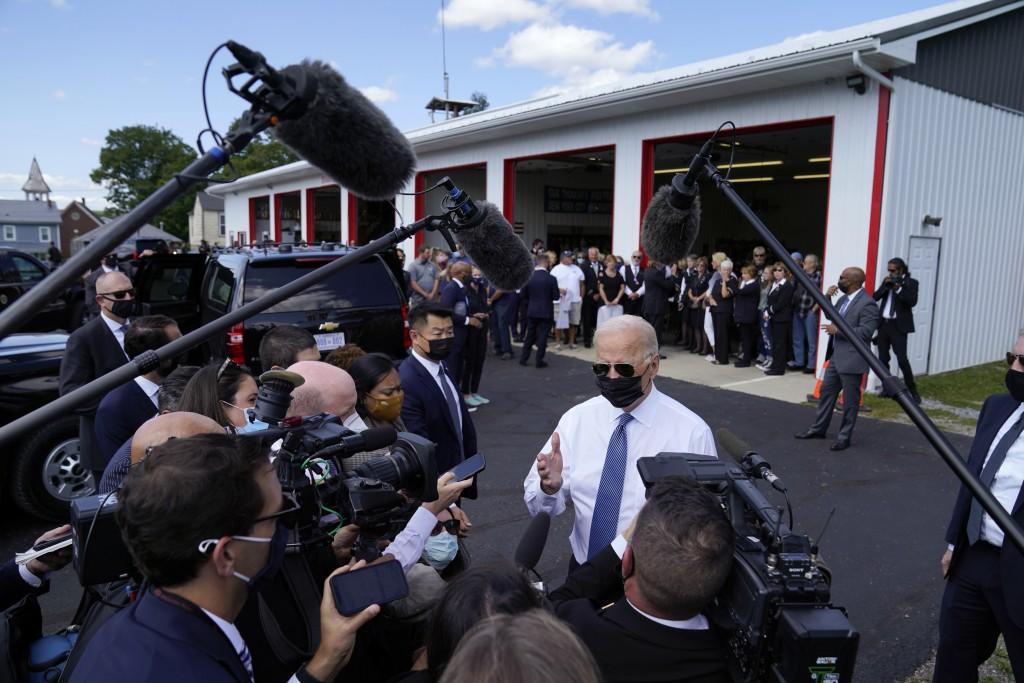 President Joe Biden speaks to members of the media as he visits the Shanksville Volunteer Fire Department in Shanksville, Pa., Saturday, Sept. 11, 202...
