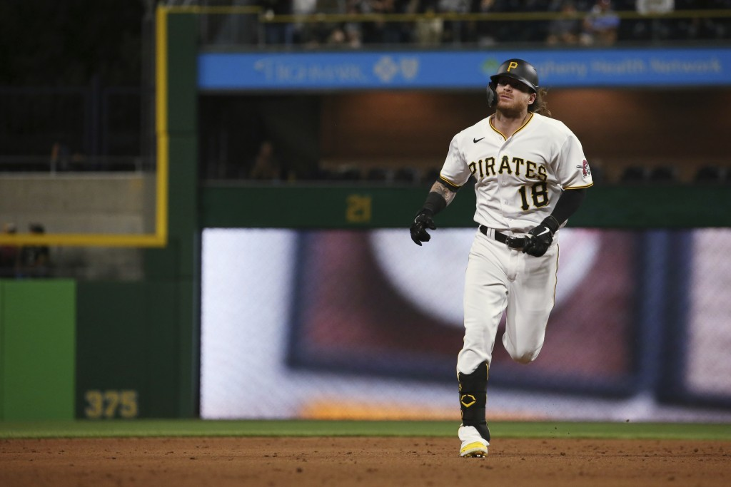 Pittsburgh Pirates' Ben Gamel (18) runs the bases after hitting a home run in the sixth inning of a baseball game against the Washington Nationals, Sa...