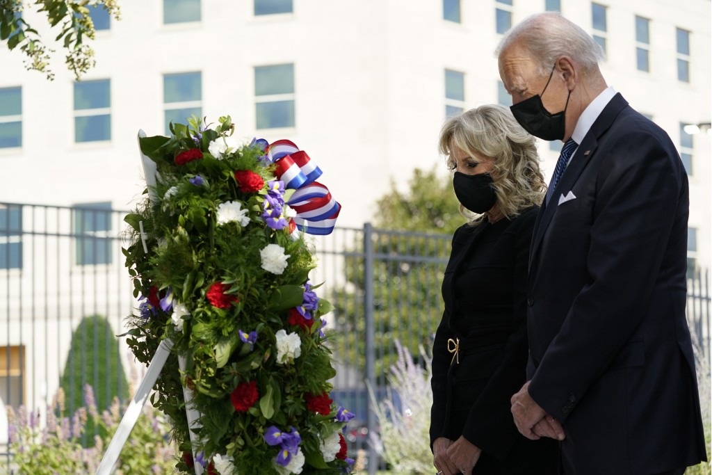President Joe Biden and first lady Jill Biden participate in a wreath ceremony on the 20th anniversary of the terrorist attacks at the Pentagon in Was...