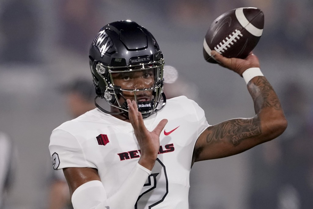 UNLV quarterback Doug Brumfield (2) warms up prior to an NCAA college football game against Arizona State, Saturday, Sept. 11, 2021, in Tempe, Ariz. (...