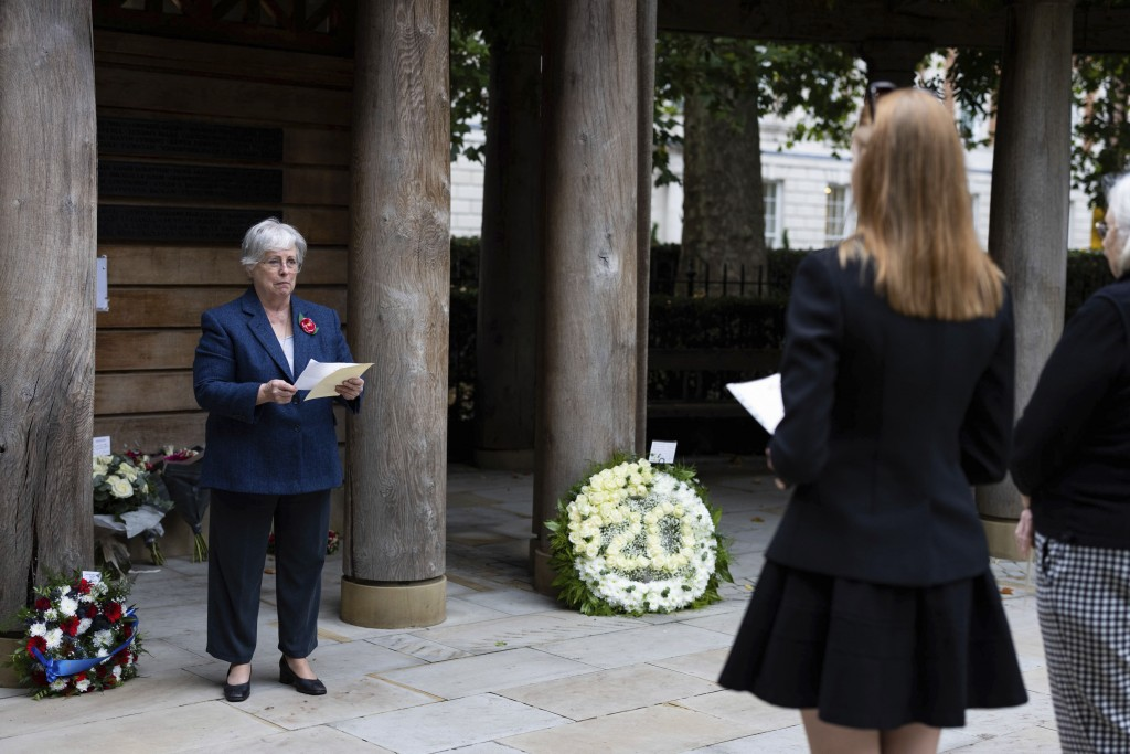 The Daughters of the American Revolution lay flowers in the September 11 Memorial Garden, in Grosvenor Square, to mark the 20th anniversary of the att...