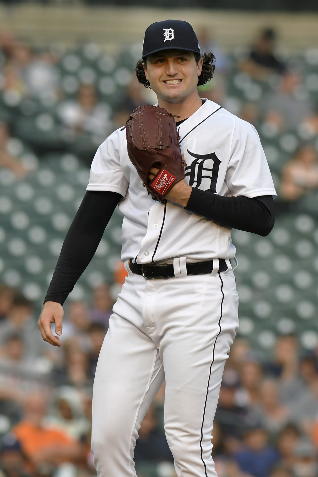 Detroit Tigers starting pitcher Casey Mize reacts after home plate umpire James Hoye called a ball on a pitch to a Tampa Bay Rays batter during the fi...