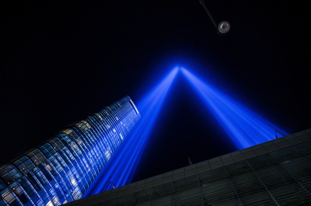 """The annual """"Tribute in Light""""  is illuminated on the 20th anniversary of the Sept. 11 attacks on Saturday, Sept. 11, 2021, in New York. (AP Photo/Brit..."""