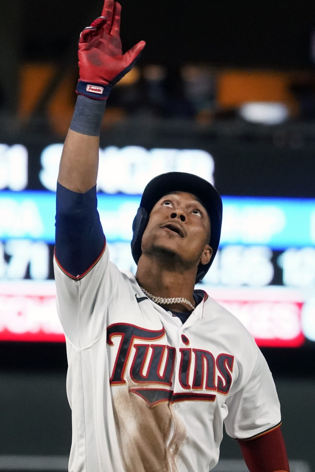 Minnesota Twins' Jorge Polanco rounds third base on his second home run of the baseball game off Kansas City Royals pitcher Brady Singer in the fifth ...