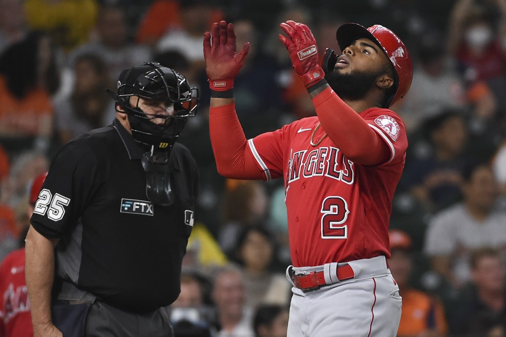 Los Angeles Angels' Luis Rengifo celebrates his two-run home run during the third inning of a baseball game against the Houston Astros, Saturday, Sept...