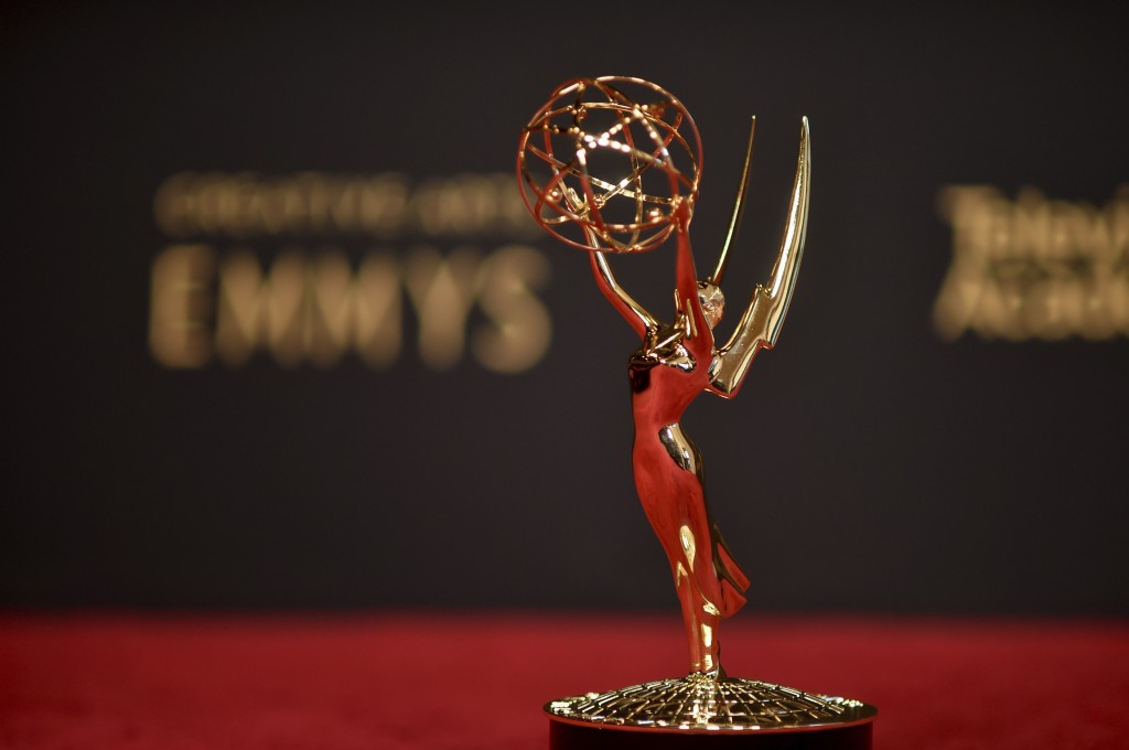 An Emmy statue is displayed on night one of the Creative Arts Emmy Awards on Saturday, Sept. 11, 2021, in Los Angeles. (Photo by Richard Shotwell/Invi...