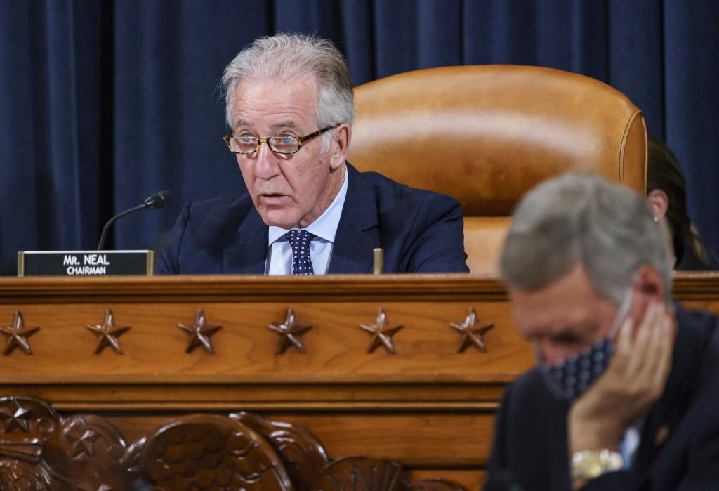 FILE - In this Sept. 9, 2021, file photo House Ways and Means Committee Chairman Richard Neal, D-Mass., presides over a markup hearing to craft the De...