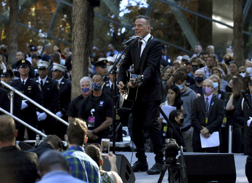 Bruce Springsteen performs during ceremonies to commemorate the 20th anniversary of the Sept. 11 terrorist attacks, Saturday, Sept. 11, 2021, at the N...