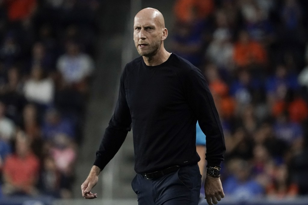 FC Cincinnati head coach Jaap Stam stands on the sideline during the first half of an MLS soccer match against Toronto FC, Saturday, Sept. 11, 2021, i...