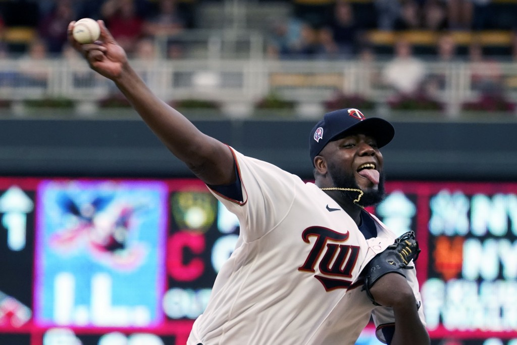 Minnesota Twins pitcher Michael Pineda throws against the Kansas City Royals in the first inning of a baseball game, Saturday, Sept. 11, 2021, in Minn...