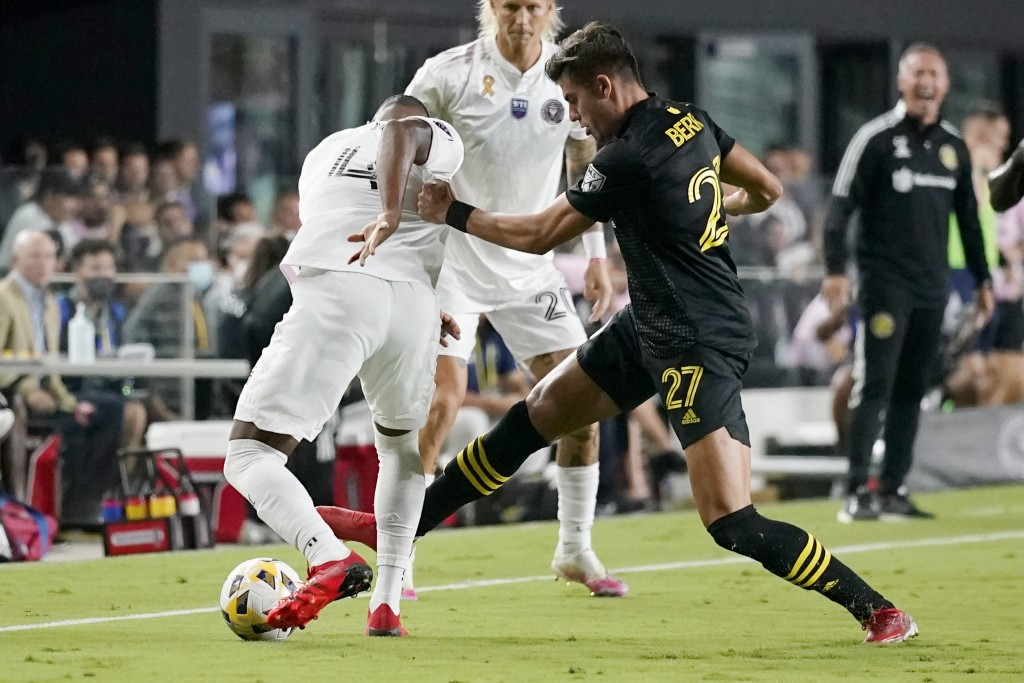 Columbus Crew forward Miguel Berry (27) goes for the ball againstInter Miami defender Christian Makoun (4) during the first half of an MLS soccer matc...