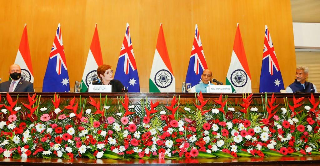 From left, Australian Defense Minister Peter Dutton, Australian Foreign Minister Marise Payne , Indian Defense Minister Rajnath Singh and Indian Forei...