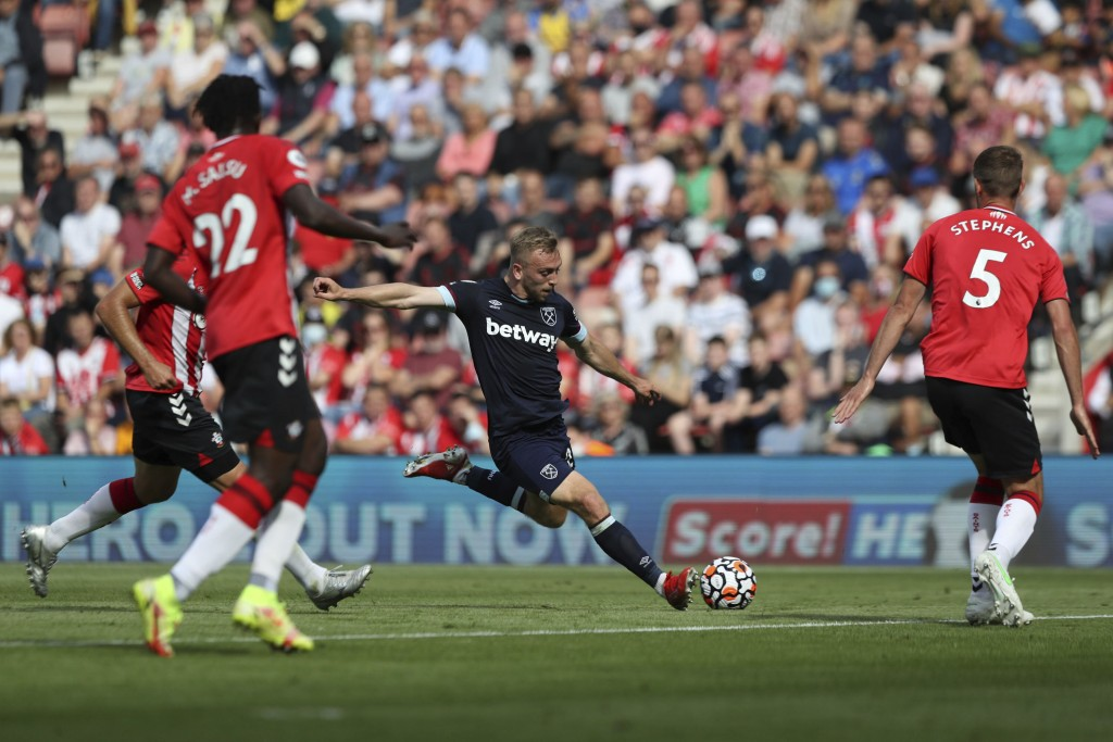 West Ham United's Jarrod Bowen shoots at goal, during the English Premier League soccer match between Southampton and West Ham United, at St Mary's St...