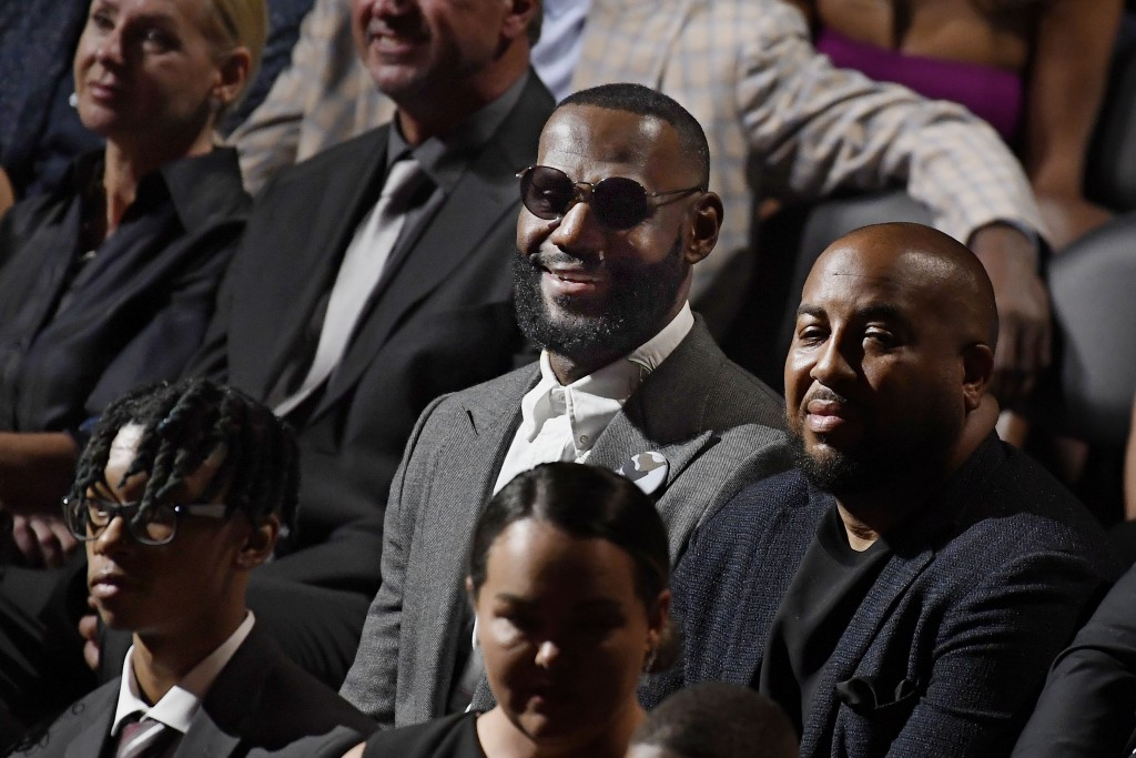 Lebron James sits in the audience at the 2021 Basketball Hall of Fame Enshrinement ceremony, Saturday, Sept. 11, 2021, in Springfield, Mass. (AP Photo...