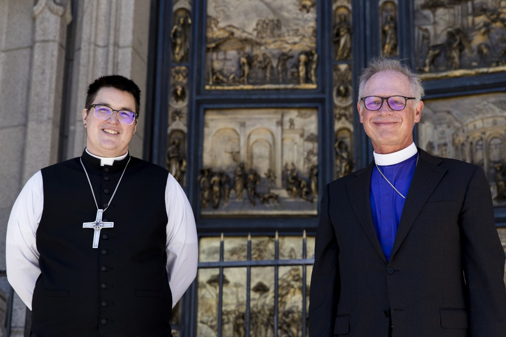Bishops Megan Rohrer, left, and Marc Andrus pose for the media before Bishop Rohrer's installation ceremony at Grace Cathedral in San Francisco, Satur...