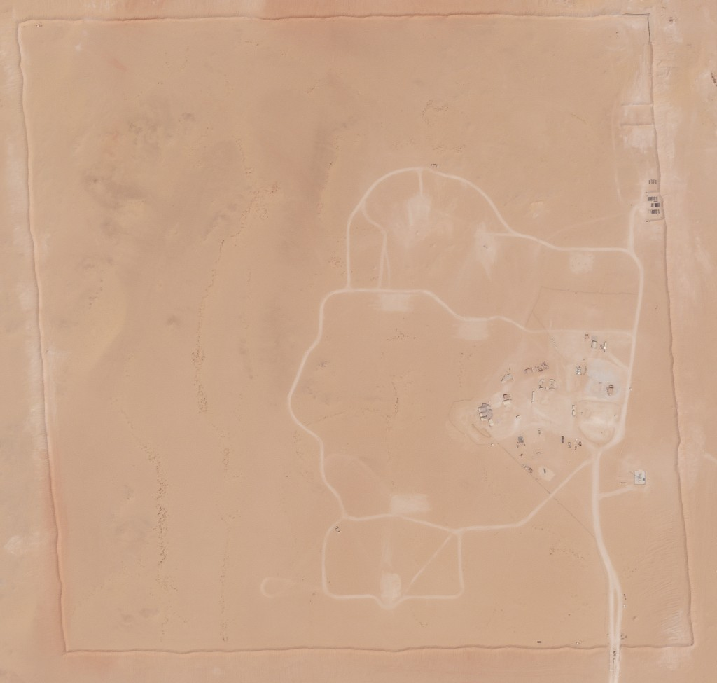 In this satellite photo provided by Planet Labs Inc., an area of Prince Sultan Air Base in Saudi Arabia that once saw Patriot missile batteries statio...