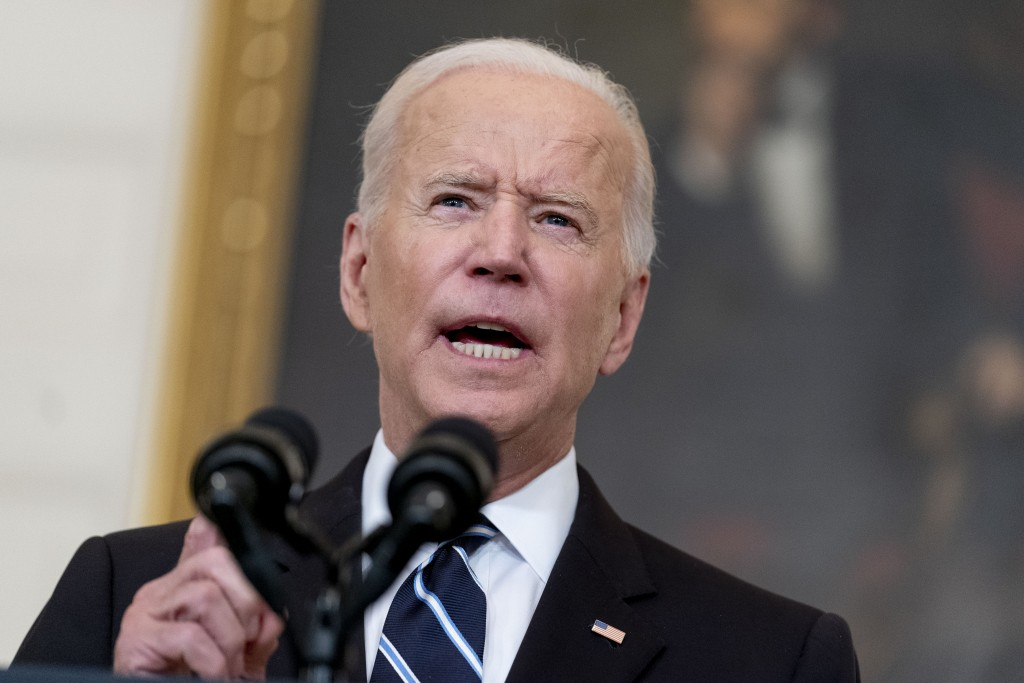 President Joe Biden speaks in the State Dining Room at the White House, Thursday, Sept. 9, 2021, in Washington. Labor unions are divided over vaccine ...