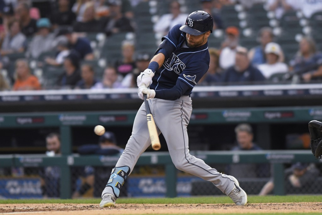 Tampa Bay Rays' Kevin Kiermaier hits a double against the Detroit Tigers during the fourth inning of a baseball game Saturday, Sept. 11, 2021, in Detr...