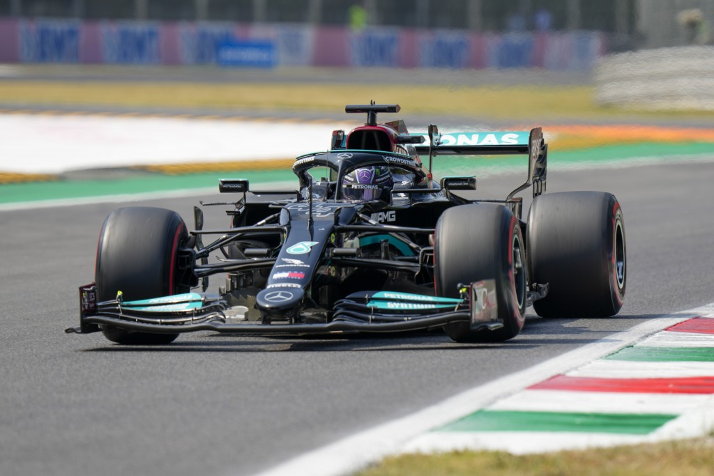 Mercedes driver Lewis Hamilton of Britain steers his car during a free practice at the Monza racetrack, in Monza, Italy , Saturday, Sept.11, 2021. The...