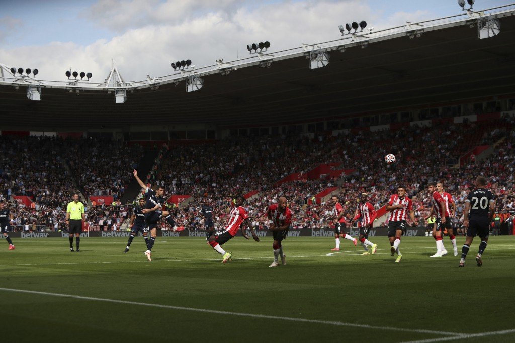 West Ham United's Aaron Cresswell takes a shot on goal, during the English Premier League soccer match between Southampton and West Ham United, at St ...