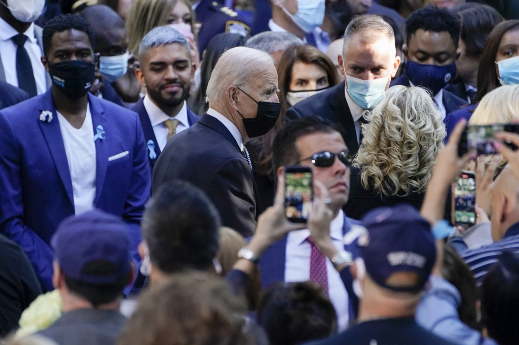 President Joe Biden and first lady Jill Biden arrive at the National September 11 Memorial in New York, Saturday, Sept. 11, 2021, to attend a ceremony...