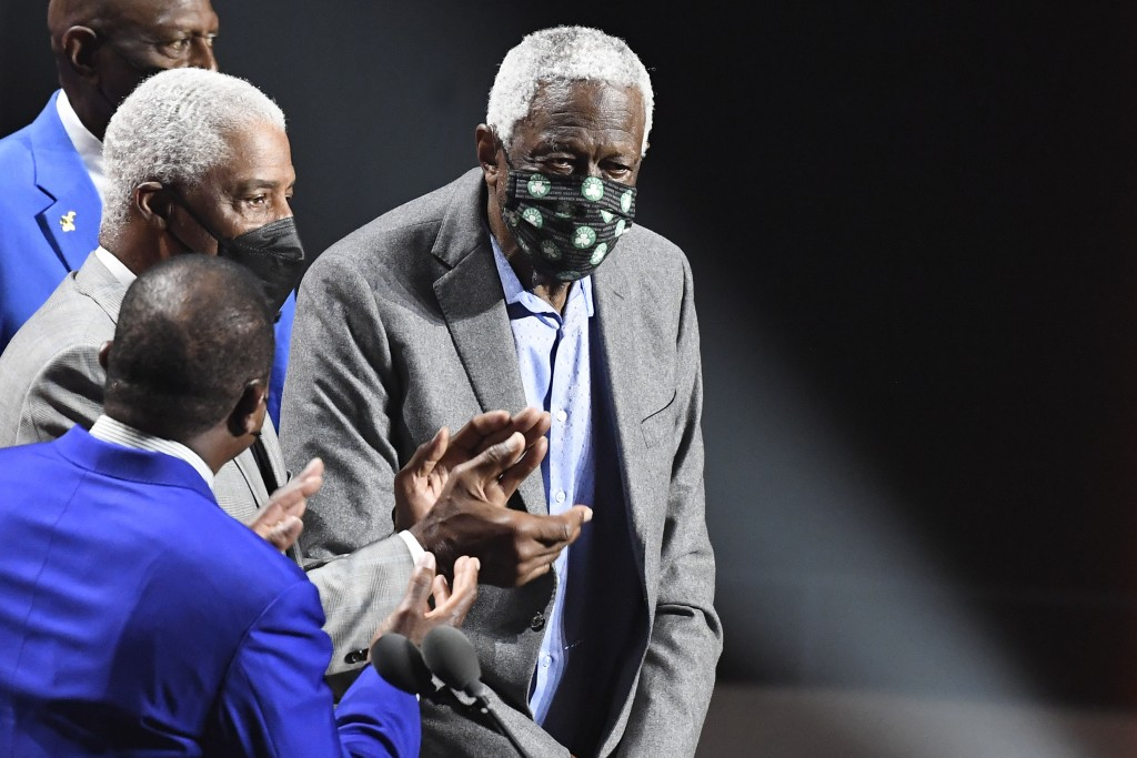 Inductee Bill Russell stands on stage during the 2021 Basketball Hall of Fame Enshrinement ceremony, Saturday, Sept. 11, 2021, in Springfield, Mass. (...