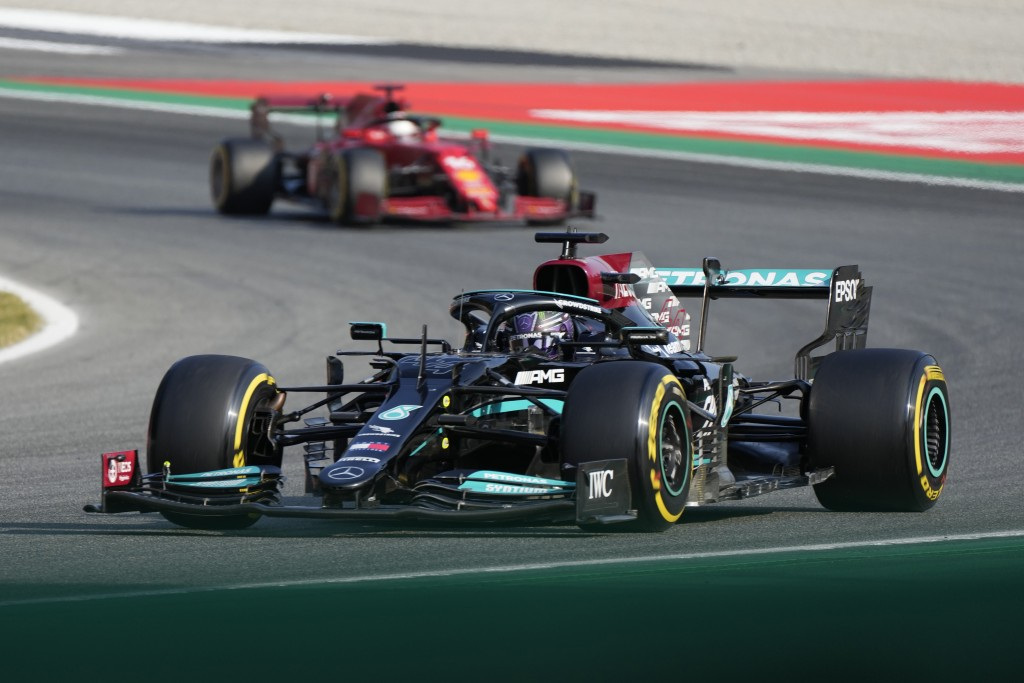 Mercedes driver Lewis Hamilton of Britain steers his car during the Sprint Race qualifying session at the Monza racetrack, in Monza, Italy , Saturday,...