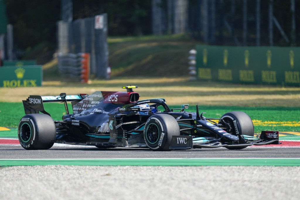 Mercedes driver Valtteri Bottas of Finland steers his car during a free practice at the Monza racetrack, in Monza, Italy , Saturday, Sept.11, 2021. Th...