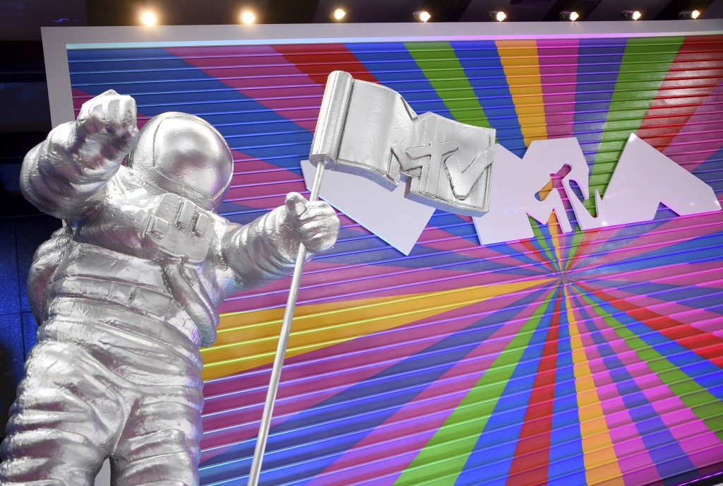 FILE - A statue of the MTV Moon Man appears on the red carpet at the MTV Video Music Awards in New York on Aug. 20, 2018. The 2021 MTV Video Music Awa...