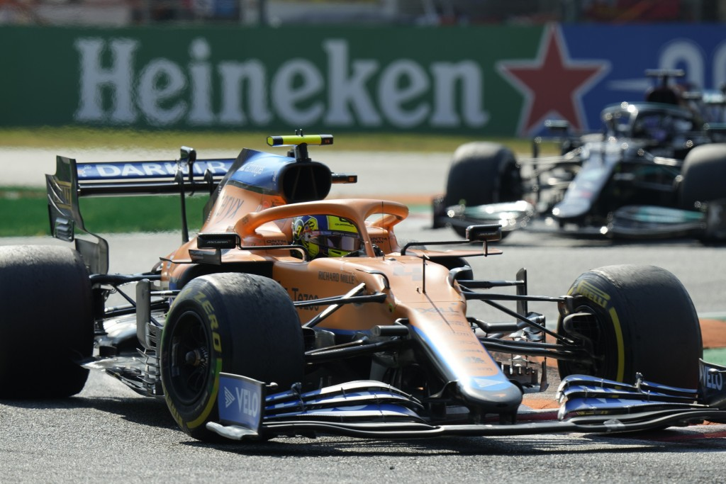 Mclaren driver Lando Norris of Britain steers his car during the Italian Formula One Grand Prix, at Monza racetrack, in Monza, Italy, Sunday, Sept.12,...