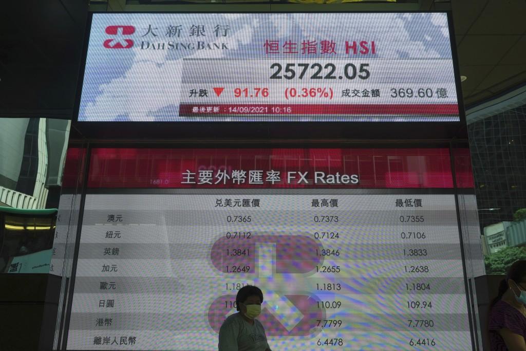 A woman walks past a bank's electronic board showing the Hong Kong share index at Hong Kong Stock Exchange in Hong Kong Tuesday, Sept. 14, 2021. Asian...