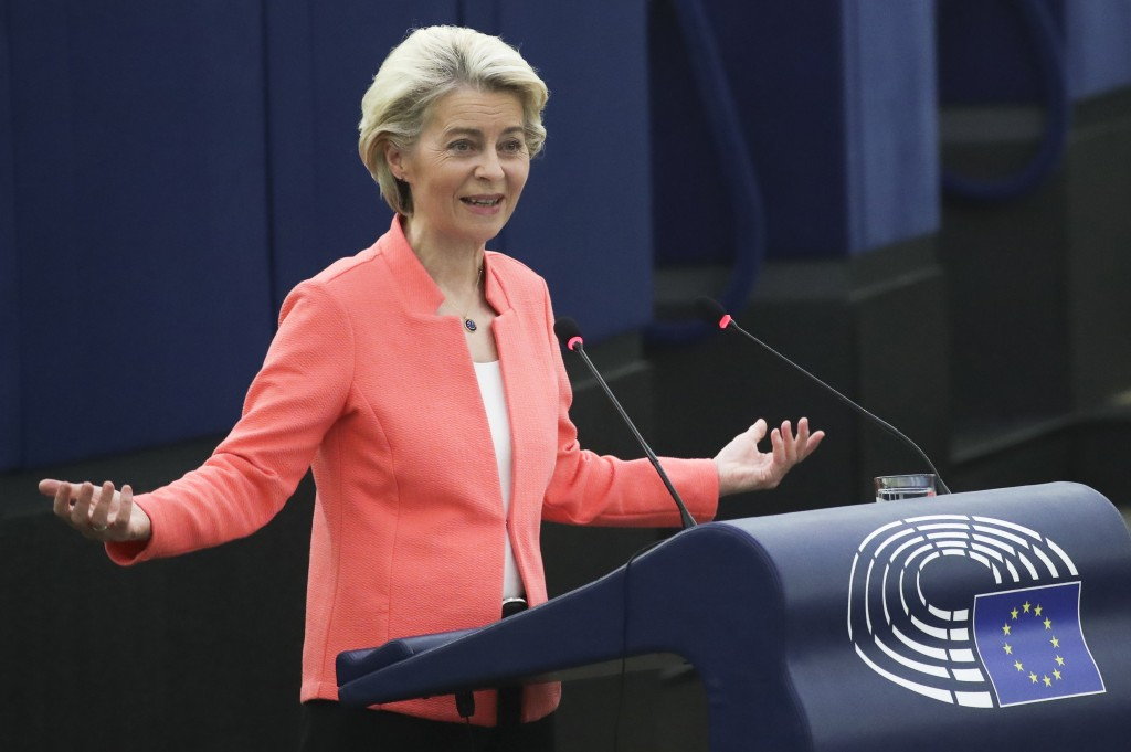 European Commission President Ursula von der Leyen delivers a State of the Union Address at the European Parliament in Strasbourg, France, Wednesday, ...