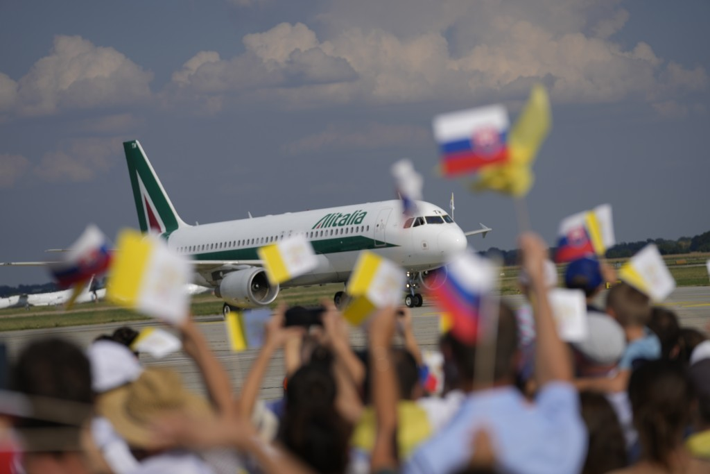 Pope Francis' airplane arrives at Bratislava, Slovakia, international airport Sunday, Sept. 12, 2021. Francis is opening his first foreign trip since ...