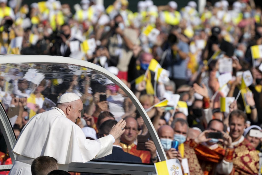 Pope Francis arrives to celebrate a Byzantine rite Mass at Mestska sportova hala Square, in Presov, Slovakia, Tuesday, Sept. 14, 2021. Pope Francis is...