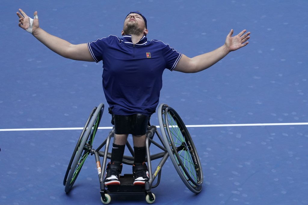 Dylan Alcott, of Australia, reacts after defeating Niels Vink, of the Netherlands, during the men's wheelchair quad singles final at the U.S. Open ten...