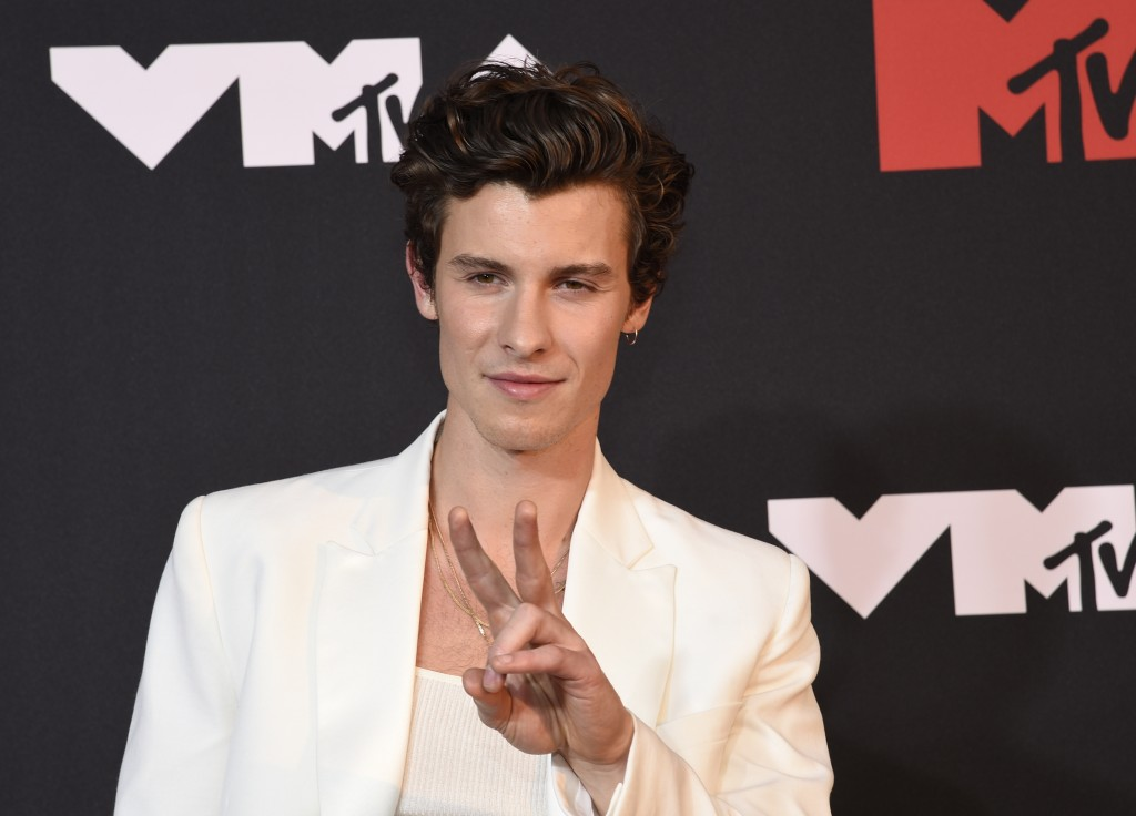 Shawn Mendes arrives at the MTV Video Music Awards at Barclays Center on Sunday, Sept. 12, 2021, in New York. (Photo by Evan Agostini/Invision/AP)