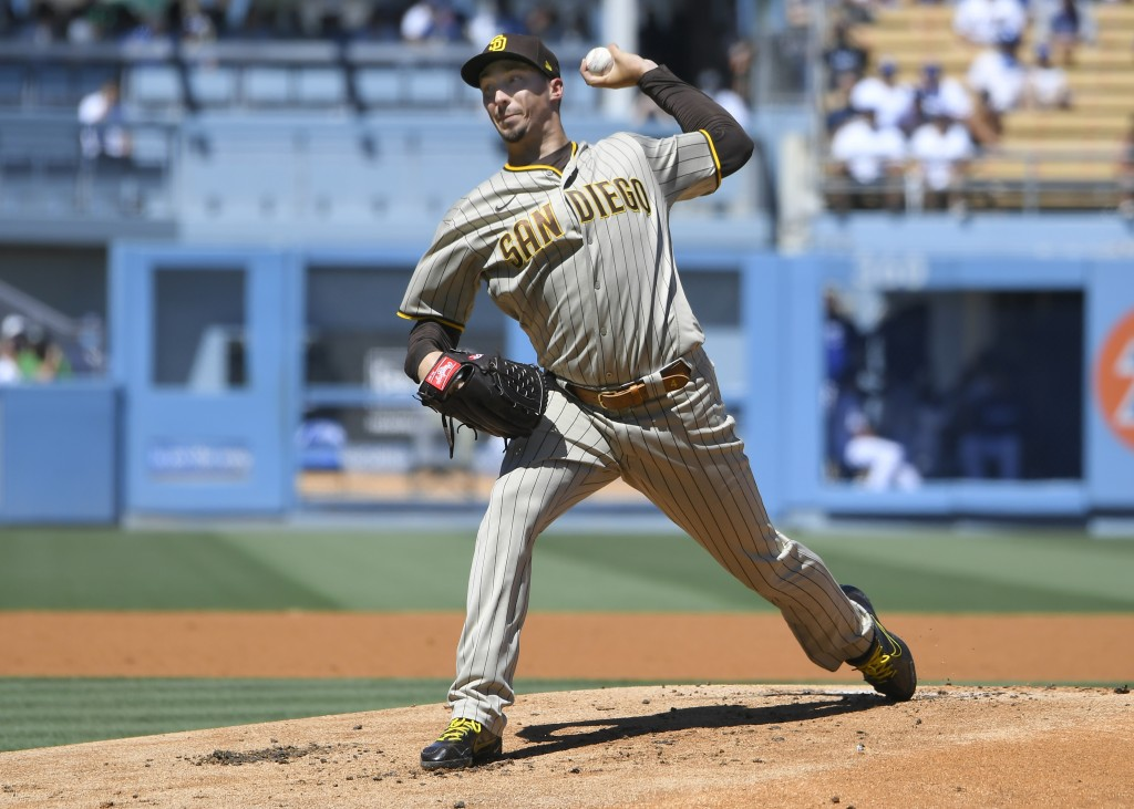 San Diego Padres starting pitcher Blake Snell throws in the first inning against the Los Angeles Dodgers during a baseball game Sunday, Sept. 12, 2021...