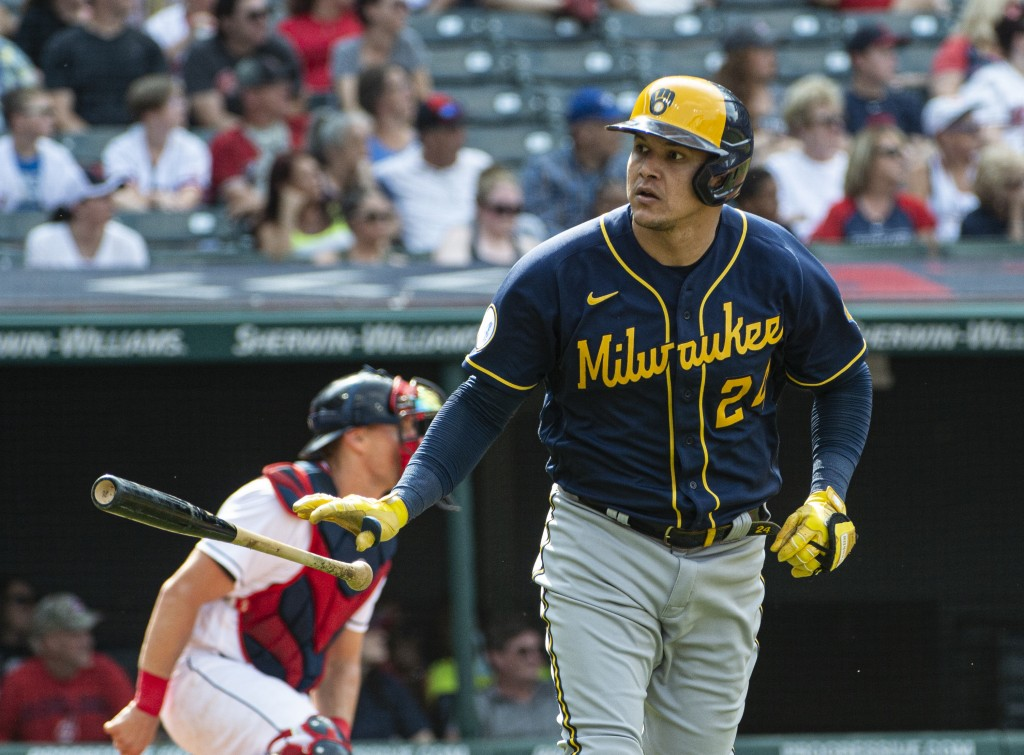Milwaukee Brewers' Avisail Garcia heads to first base after hitting a three-run home run off Cleveland Indians relief pitcher Bryan Shaw during the ei...