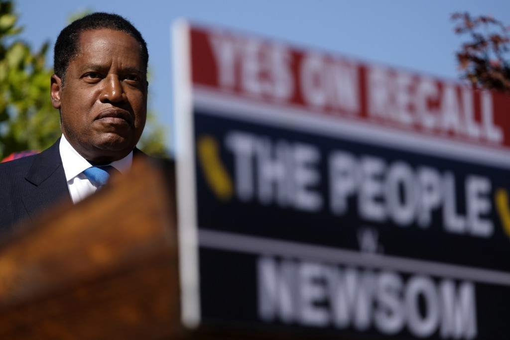 Republican conservative radio show host Larry Elder attends a rally for the California gubernatorial recall election on Monday, Sept. 13, 2021, in Mon...