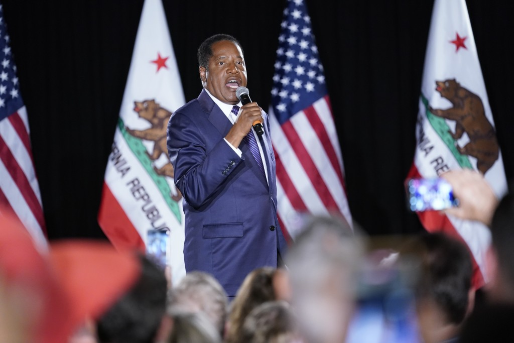 Republican conservative radio show host Larry Elder speaks after losing the California gubernatorial recall election Tuesday, Sept. 14, 2021, in Costa...