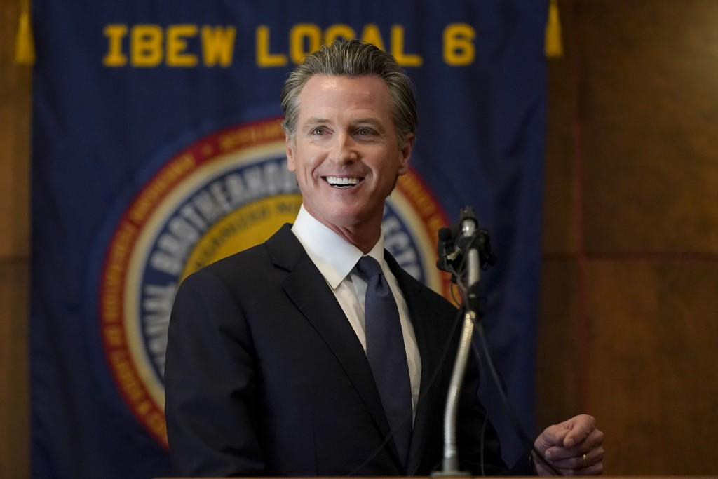 Gov. Gavin Newsom speaks to volunteers in San Francisco, Tuesday, Sept. 14, 2021. The recall election that could remove California Democratic Gov. New...