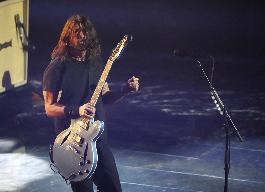 Dave Grohl of the Foo Fighters performs at the MTV Video Music Awards at Barclays Center on Sunday, Sept. 12, 2021, in New York. (Photo by Charles Syk...