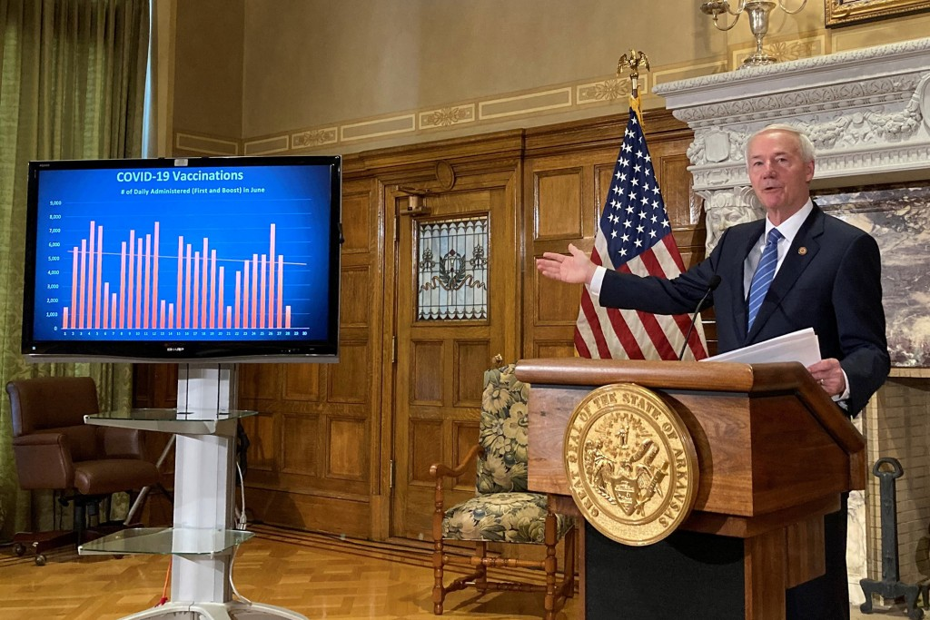 FILE - In this Tuesday, June 29, 2021 file photo, Arkansas Gov. Asa Hutchinson talks about COVID-19 vaccinations at the state Capitol in Little Rock, ...