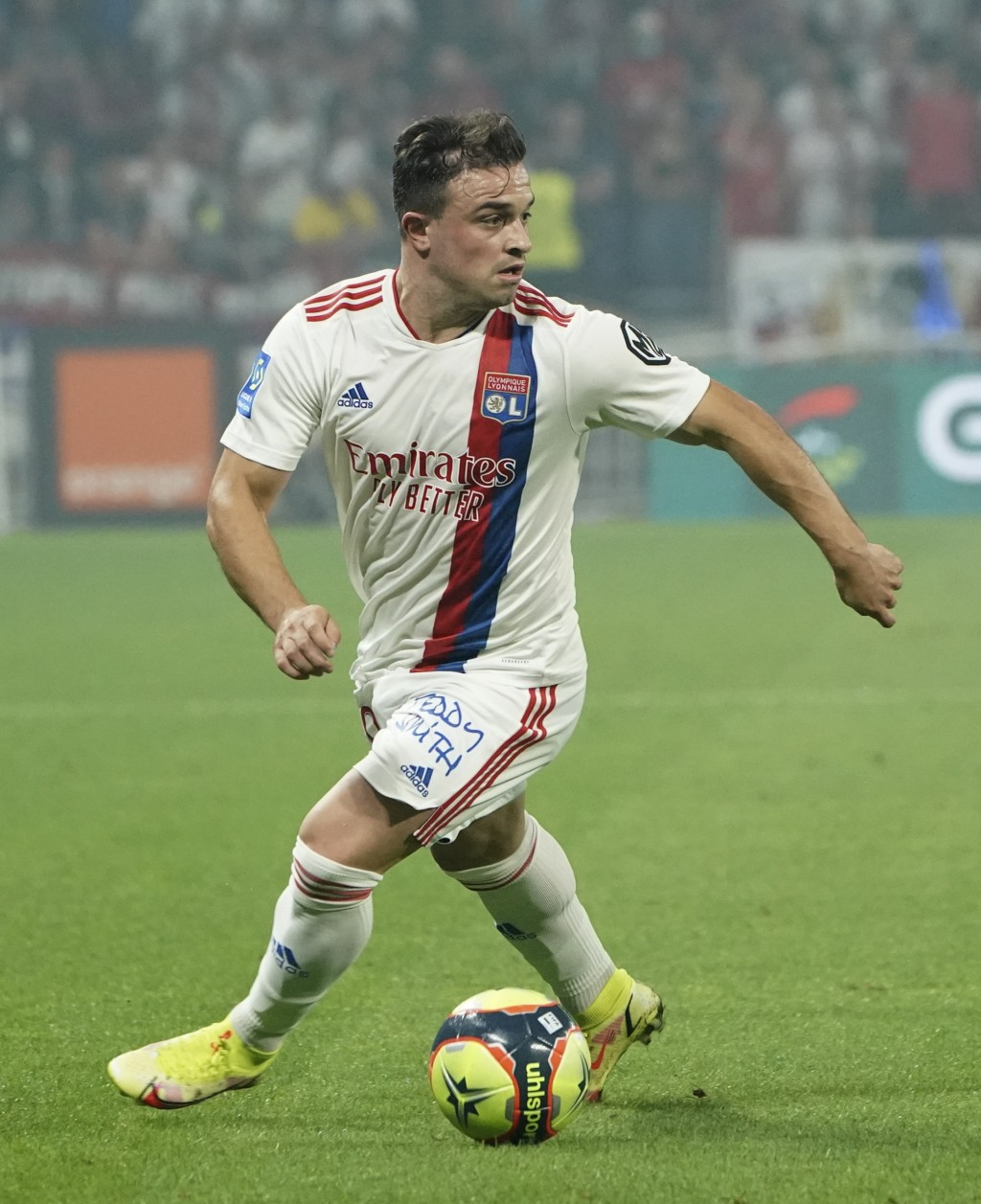 Lyon's Xherdan Shaqiri controls the ball during the French League One soccer match between Strasbourg RCSA and Olympique Lyonnais at the Groupama stad...