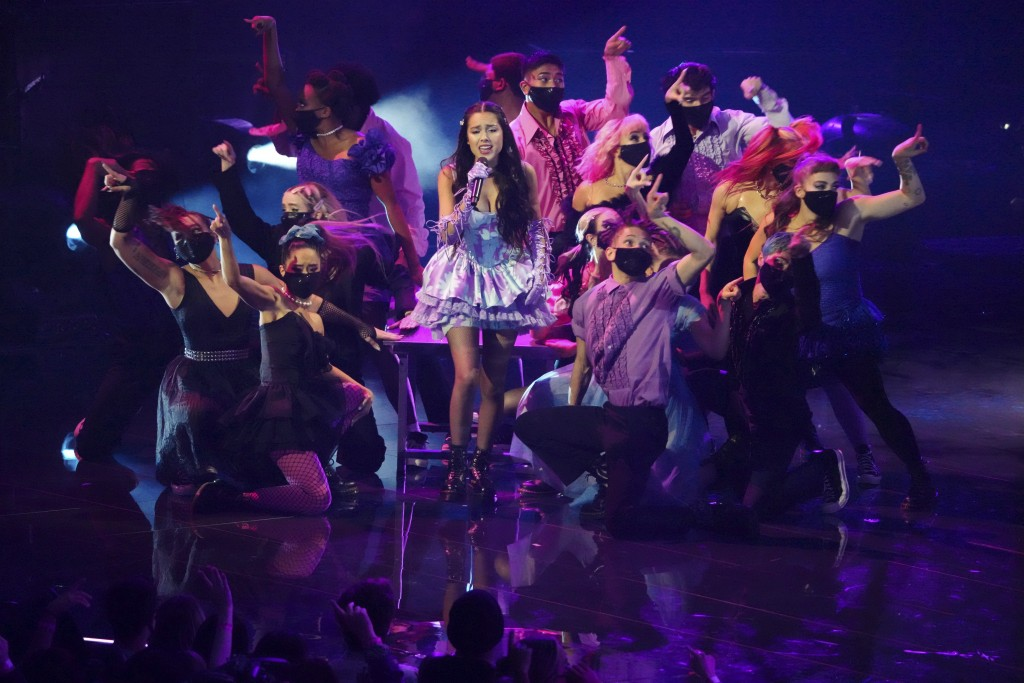 """Olivia Rodrigo performs """"Good 4 U"""" at the MTV Video Music Awards at Barclays Center on Sunday, Sept. 12, 2021, in New York. (Photo by Charles Sykes/In..."""