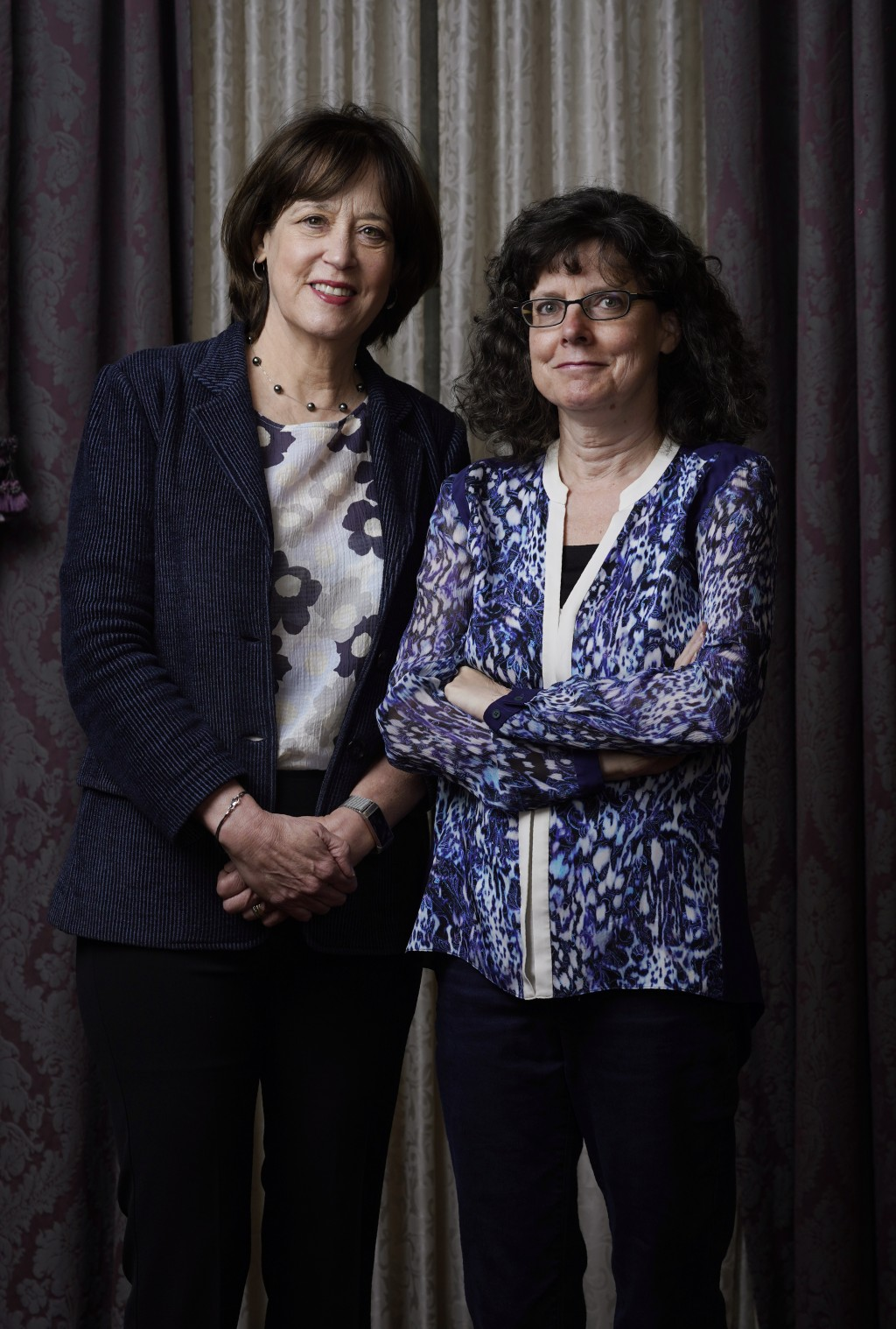 """Betsy West, left, and Julie Cohen, the co-directors of the documentary film """"Julia,"""" pose together for a portrait during the Toronto International Fil..."""