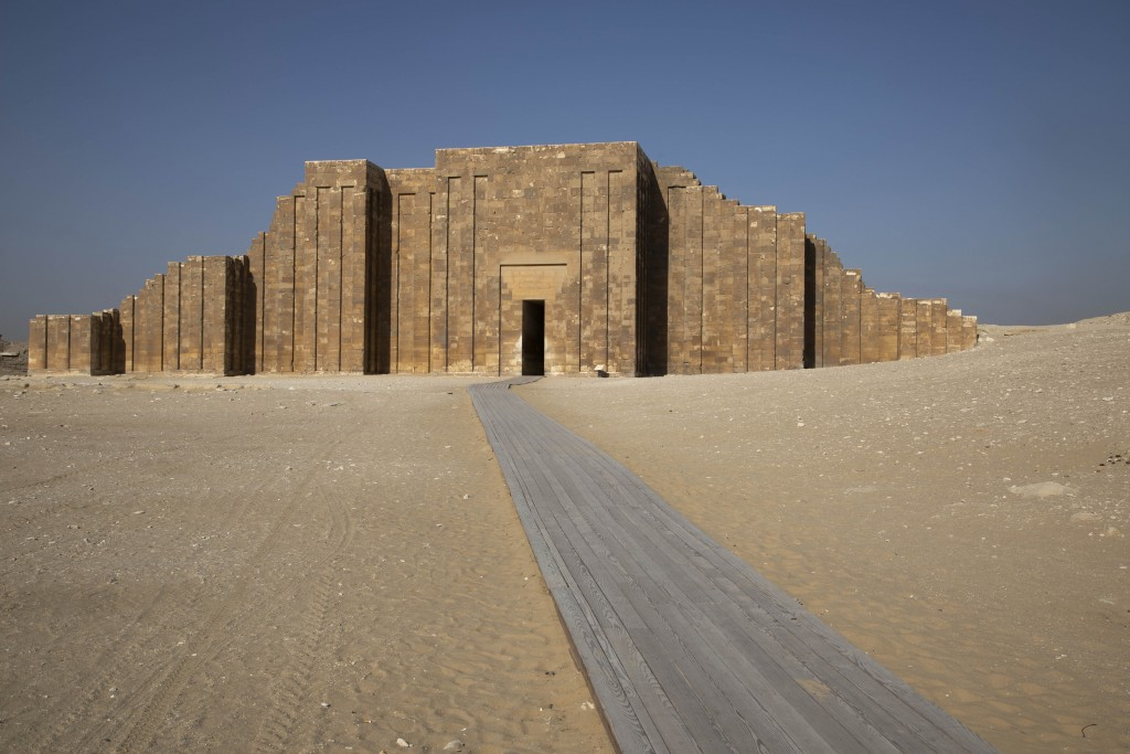 A path leads to the entrance of the southern cemetery of King Djoser, after its restoration, near the famed Step Pyramid, in Saqqara, south of Cairo, ...