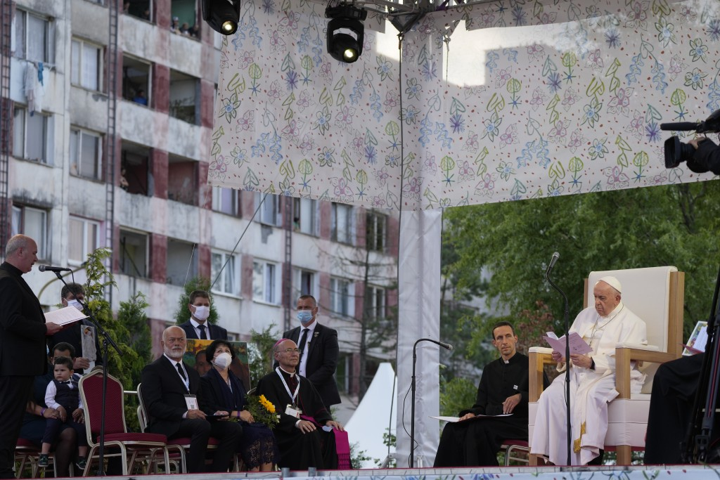 Pope Francis meets members of the Roma community at Lunik IX, in Kosice, Slovakia, Tuesday, Sept. 14, 2021, the biggest of about 600 shabby, segregate...